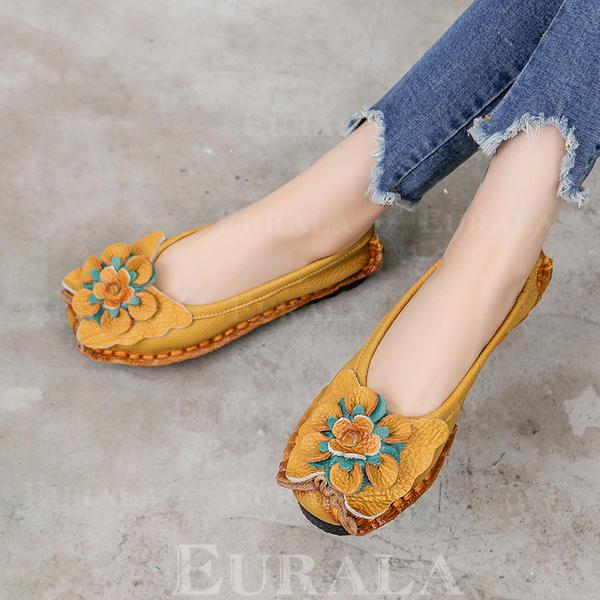 Kvinner Egte Lær Flat Hæl Flate sko Lukket Tå med Blomst sko