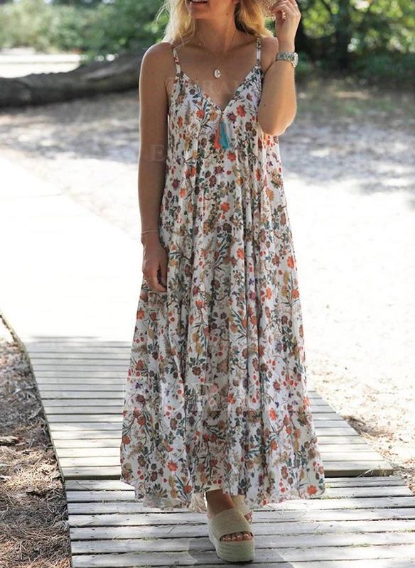 Nadrukowana/Kwiatowy Bez rękawów Koktajlowa Halka Casual/Boho/Wakacyjna Maxi Sukienki