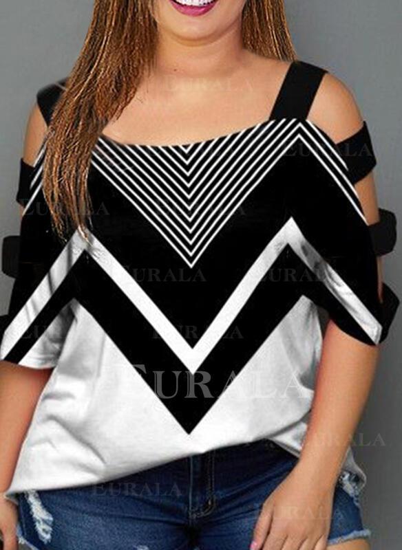 Цветной блок Холодный прием 1/2 рукава Повседневная Большой размер Блузы