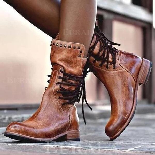 Bayanlar suni deri Düşük Topuk bot ayakkabı Ile Perçin Bağcıklı ayakkabı ayakkabı