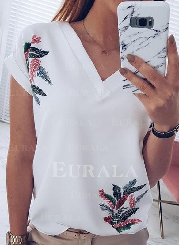Trykk V-hals Korte ermer Casual T-skjorter