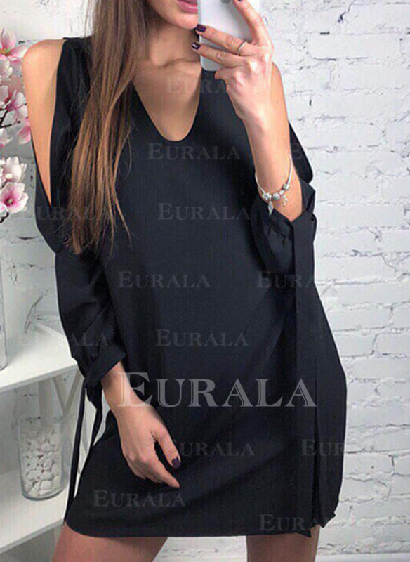 Jednolita Długie rękawy/Odkryte ramię Koktajlowa Nad kolana Mała czarna/Casual Tunika Sukienki