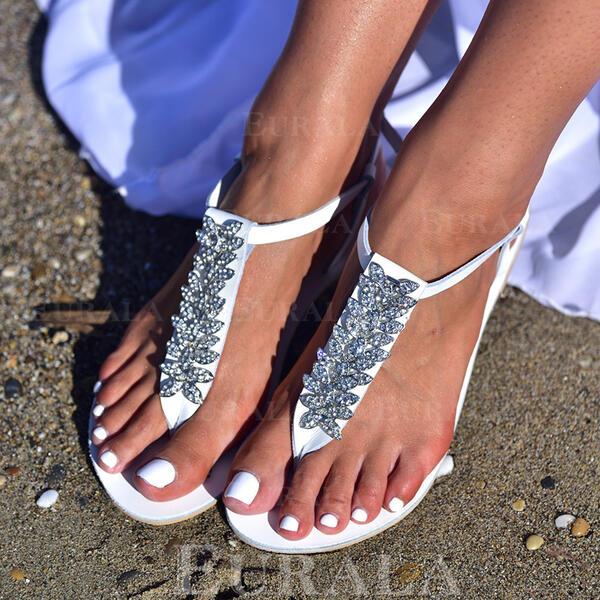 Women's Leatherette Flat Heel Sandals Flats With Rhinestone Flower shoes