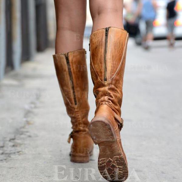 Bayanlar PU Düz topuk Flats Kapalı Toe bot ayakkabı Diz Çizmesi Ile Fermuar ayakkabı