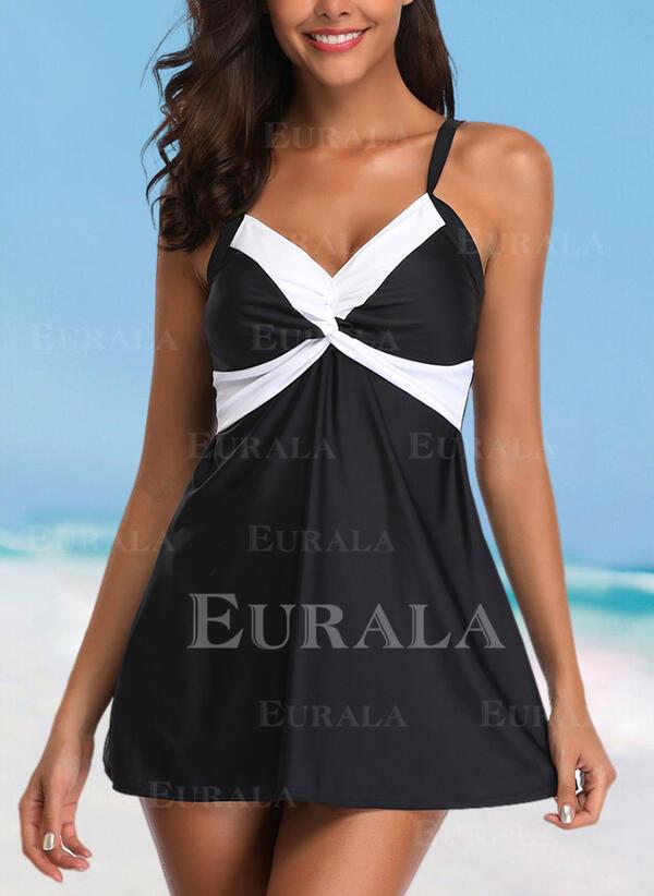 Splice color Strap Elegant Casual Swimdresses Swimsuits