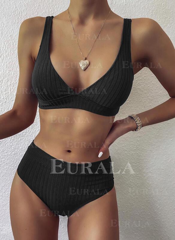 Сплошной цвет нашивка Ремень V шеи сексуальный Bikinis купальников