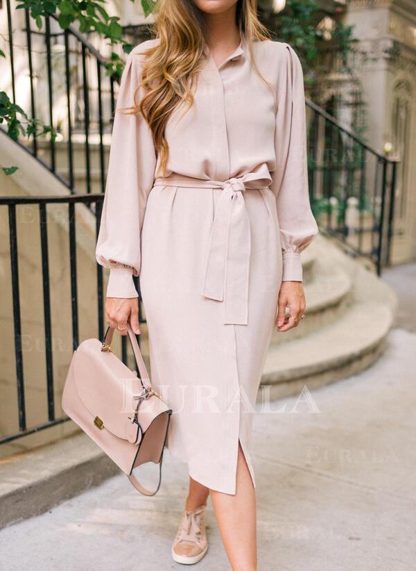 Solid Long Sleeves Sheath Knee Length Casual Shirt Dresses