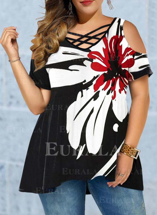 Цветочный Распечатать V шеи С коротким рукавом Повседневная Большой размер Блузы