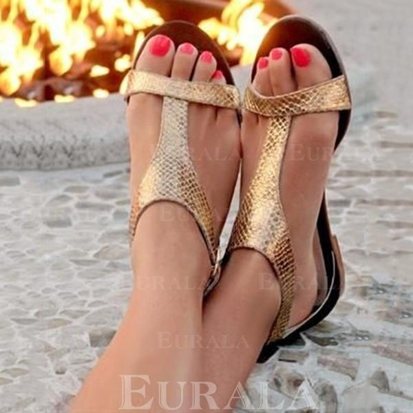 PU Flat Heel Sandaler med Andra skor