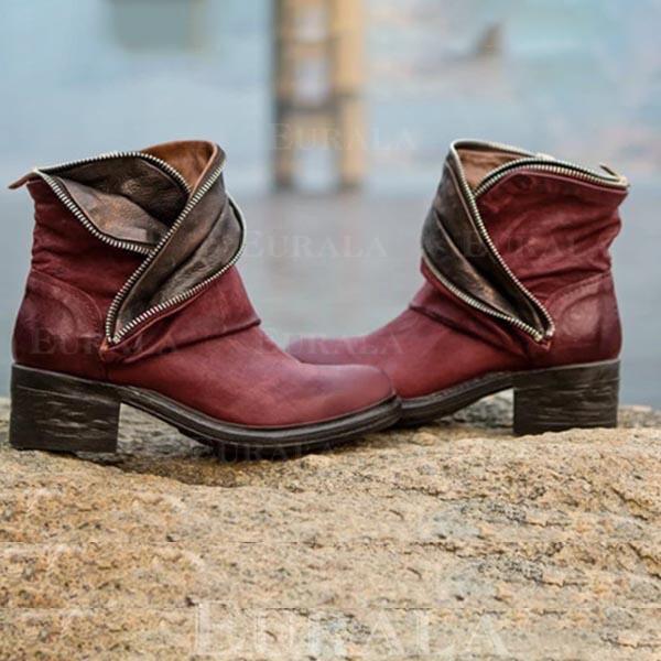 De mujer PU Tacón ancho Botas al tobillo con Material Block zapatos