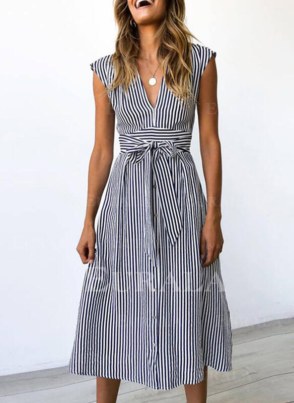Striped Short Sleeves A-line Casual Midi Dresses
