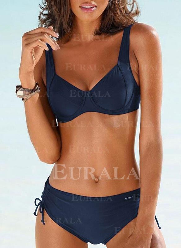 Solid Rem V-ringning Fritids bikini Badkläder