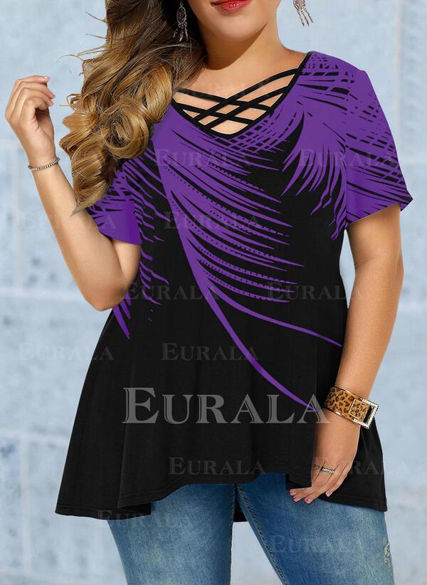 Распечатать V шеи С коротким рукавом Повседневная Большой размер Блузы
