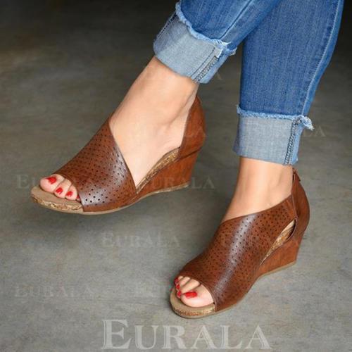 Kvinnor PU Kilklack Sandaler med Zipper Ihåliga ut Solid färg skor