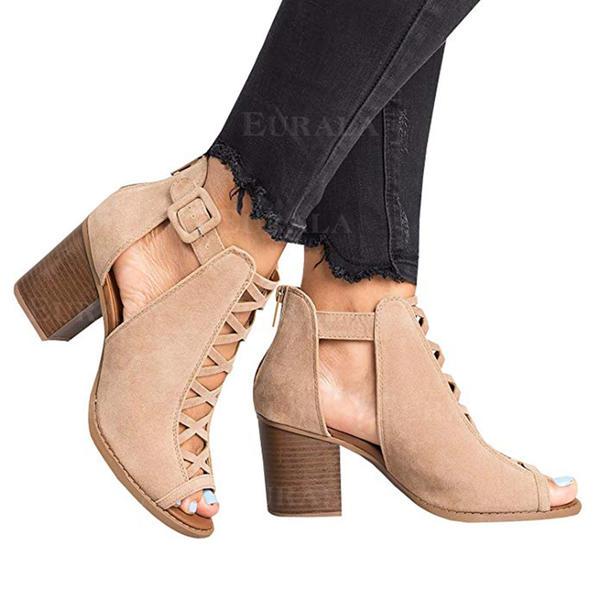Bayanlar PU Tıknaz Topuk Sandalet Pompalar Peep Toe topuk Ile Oymak ayakkabı