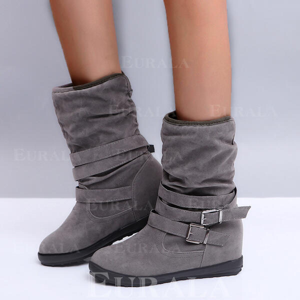 Women's Leatherette Flat Heel Snow Boots Round Toe With Buckle Solid Color shoes
