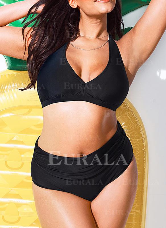 Ensfarget Halterneck Elegant Pluss størrelse Bikinier Badedrakter