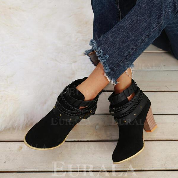 Bayanlar Süet Tıknaz Topuk Ayak bileği çizmeler Ile Bağcıklı ayakkabı ayakkabı