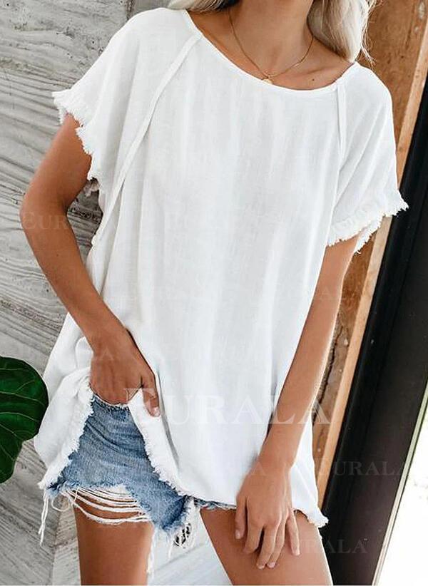 Jednolity Okrągły dekolt Krótkie rękawy Casual T-shirty