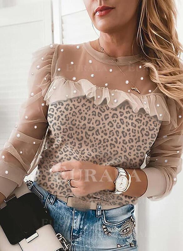 Leopard Beaded Round Neck Long Sleeves Elegant Blouses