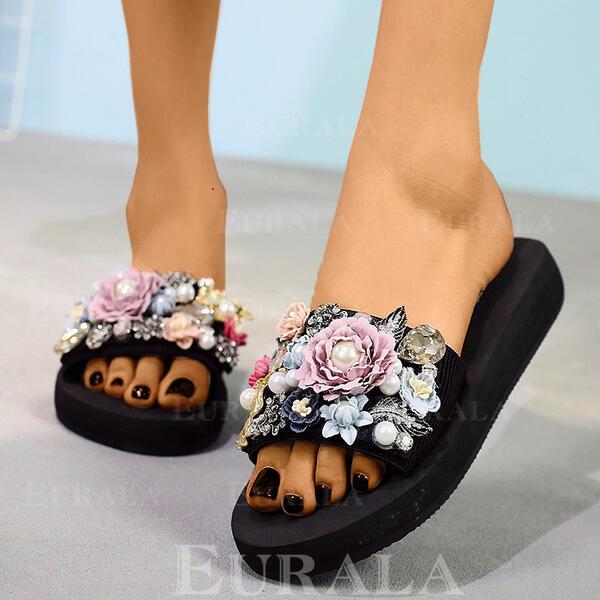 Bayanlar bez Düz topuk Terlik Ile yapay İnci Çiçek ayakkabı
