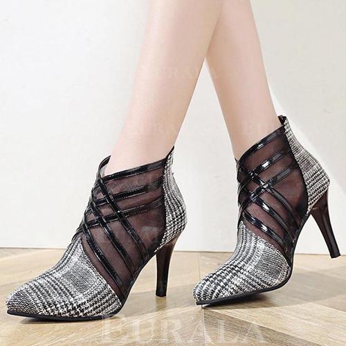 Kvinnor PU Stilettklack Pumps med Flätad rem skor