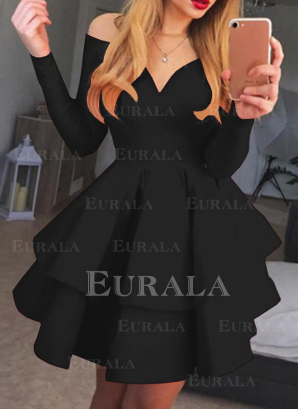 Solid Mâneci Lungi Tip A-line Deasupra Genunchiului Retro/Negre/Petrecere/Elegant Elbiseler