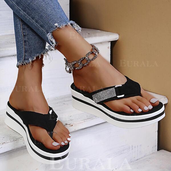 Dámské Semiš Placatý podpatek Sandály Žabky Pantofle S Napodobenina drahokamu obuv