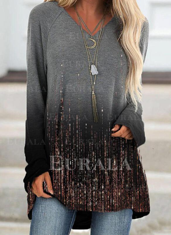 Print Gradient V-Neck Long Sleeves Sweatshirt