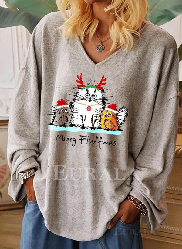 Animal Print V-Neck Long Sleeves Casual Christmas Blouses