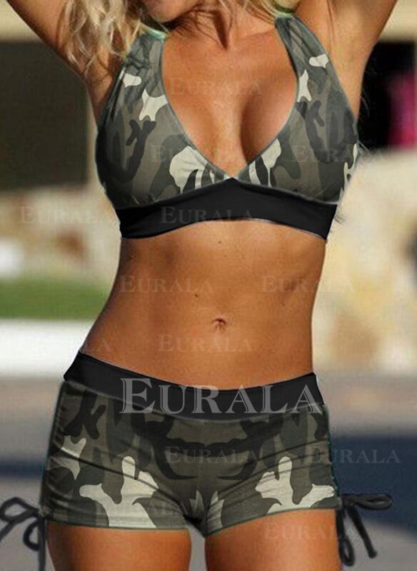 Splice color Halter V-Neck Plus Size Retro Bikinis Swimsuits