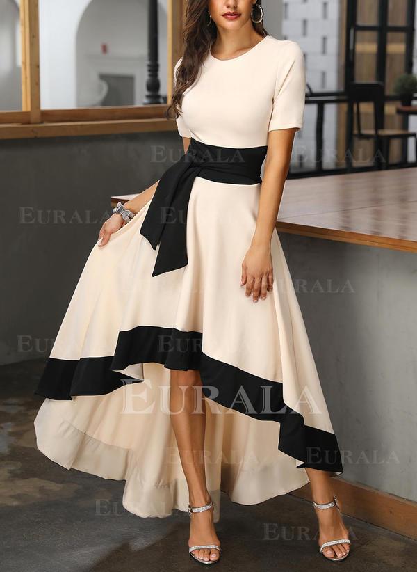 Color Block Short Sleeves A-line Asymmetrical Party/Elegant Dresses