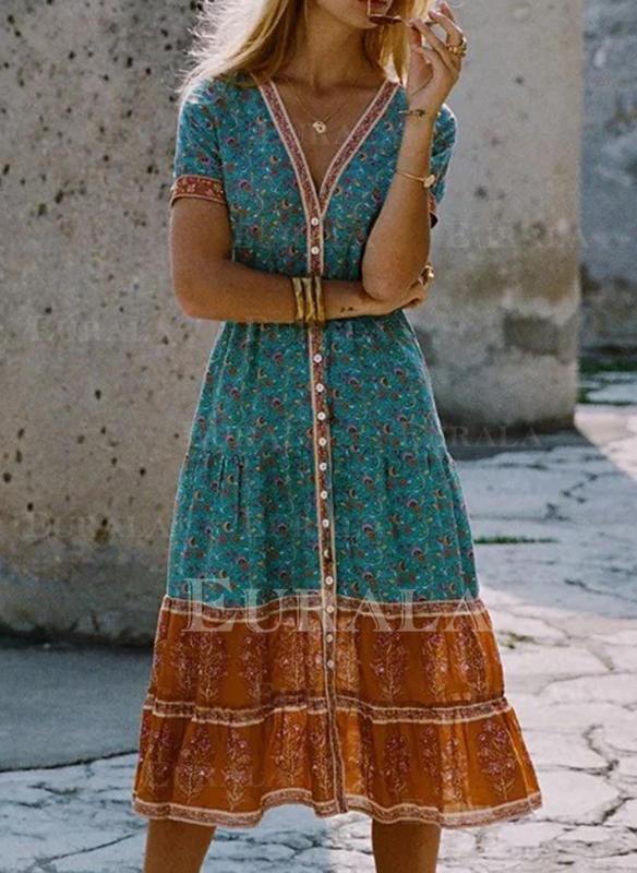 Nadrukowana Krótkie rękawy W kształcie litery A Łyżwiaż Casual/Boho/Wakacyjna Midi Sukienki