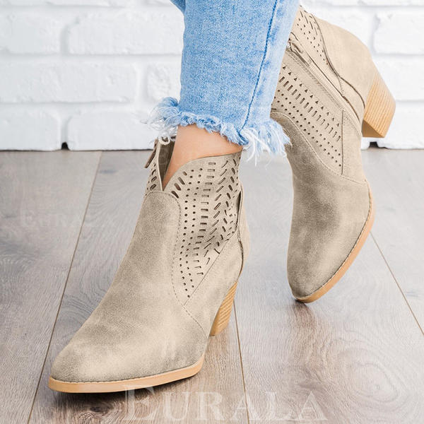 Mulheres PU Salto robusto Bombas Botas Bota no tornozelo com Oca-out sapatos