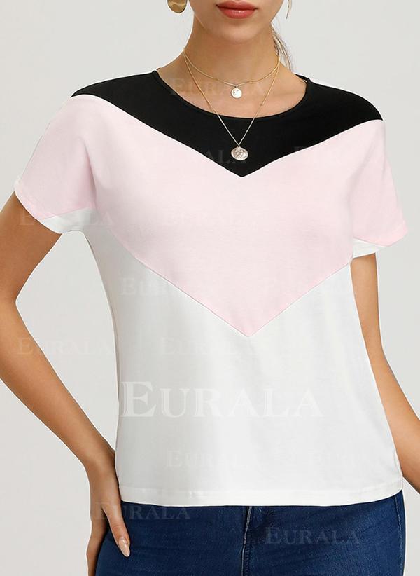 Bloco de Cor Gola Redonda Manga Curta Casual Elegante Camisetas