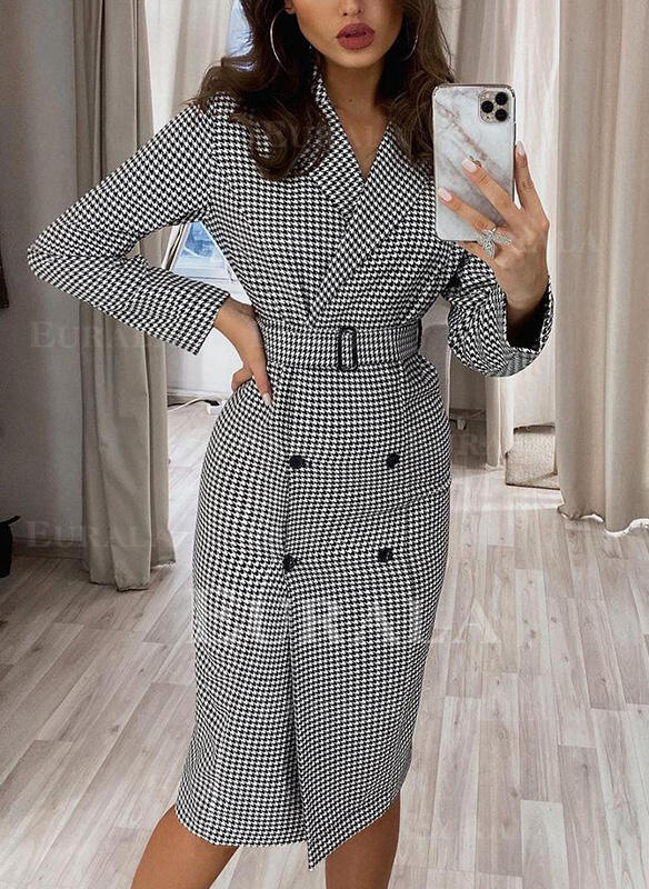 Print/Plaid Long Sleeves Sheath Knee Length Elegant Dresses