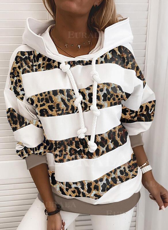 В полоску леопард Длинные рукова Толстовка с капюшоном