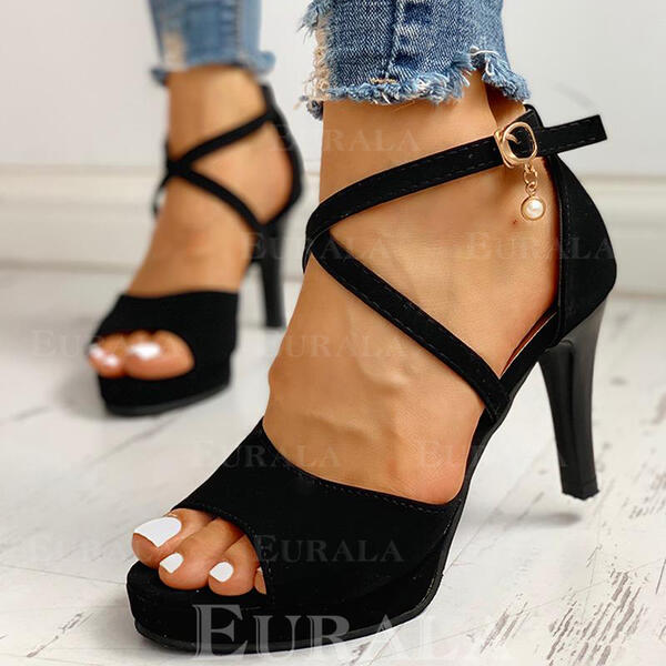 Women's Suede Stiletto Heel Pumps With Imitation Pearl Buckle shoes
