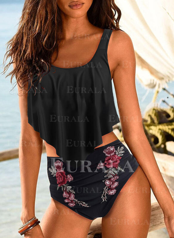 Floral Print U-Neck Plus Size Eye-catching Tankinis Swimsuits