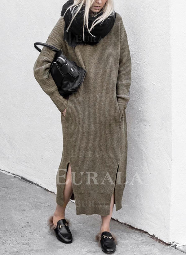 Jednolita Długie rękawy Casual Sukienki