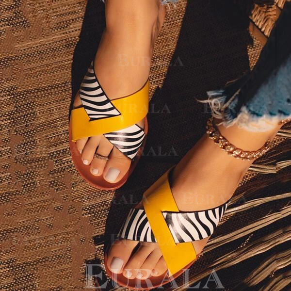 Женский PU Плоский каблук Сандалии обувь
