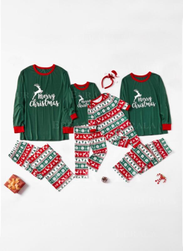 Ren Brev Print Matchande familj Jul Pyjamas