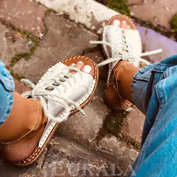 Kvinner PU Flat Hæl Flate sko med Blondér sko