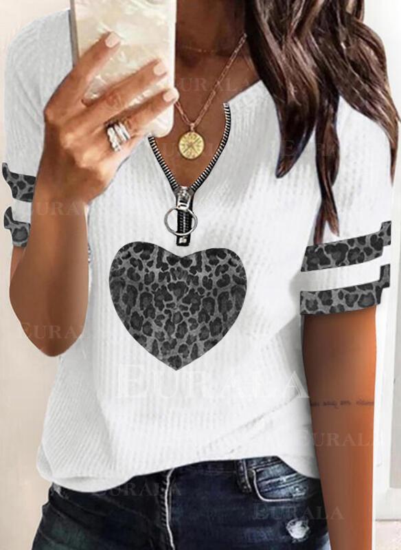 Распечатать леопард Сердце V шеи С коротким рукавом Повседневная Блузы