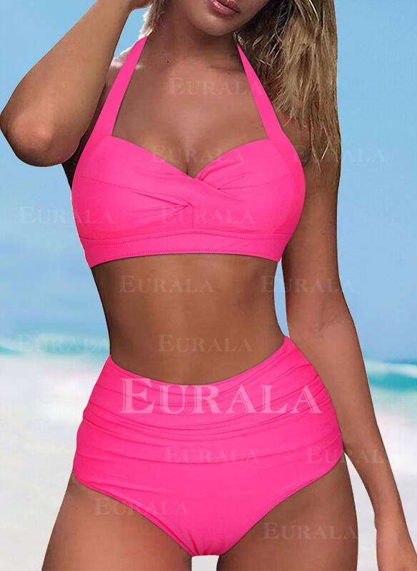 Solid Color Halter V-Neck Sexy Vintage Bikinis Swimsuits