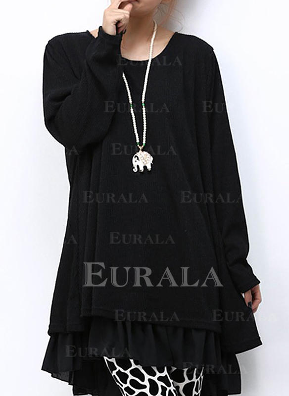 Jednolita Długie rękawy Koktajlowa Nad kolana Tunika Sukienki