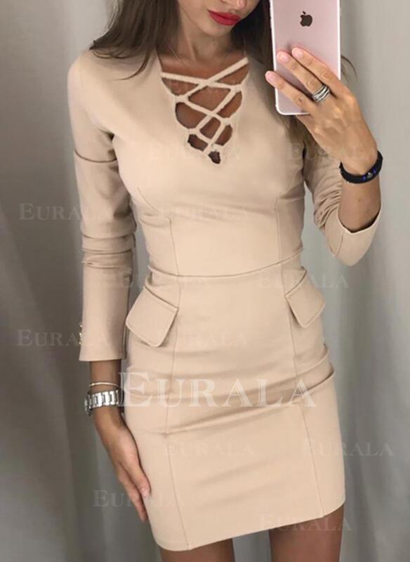 Solid Long Sleeves Bodycon Above Knee Elegant Dresses