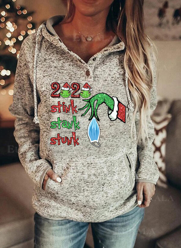 Print Figure Pockets Long Sleeves Christmas Sweatshirt