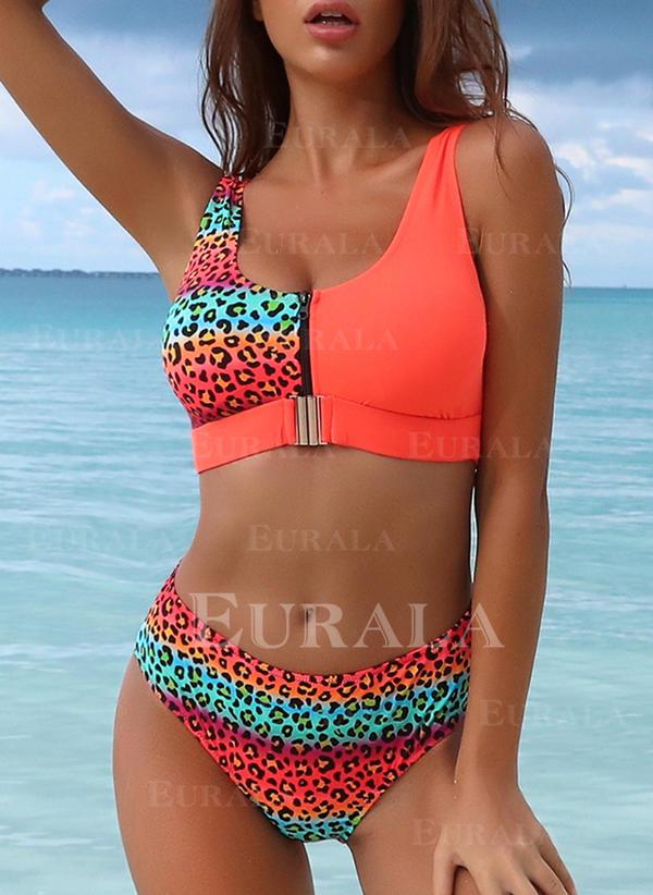 Leopard Stripe Leaves Strap U-Neck Beautiful Attractive Bikinis Swimsuits