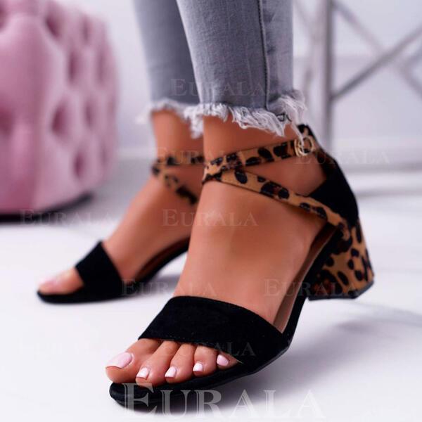 Mulheres Camurça Salto robusto Sandálias Bombas Peep toe Saltos com Fivela Animal da Cópia sapatos